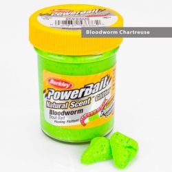 Паста форелевая Berkley Powerbait Natural Scent Glitter Trout Bait (50 г) Bloodworm Chartreuse