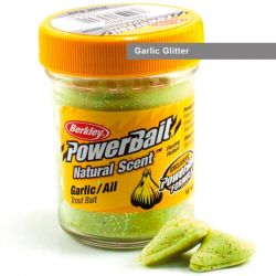 Паста форелевая Berkley Powerbait Natural Scent Glitter Trout Bait (50 г) Garlic Glitter