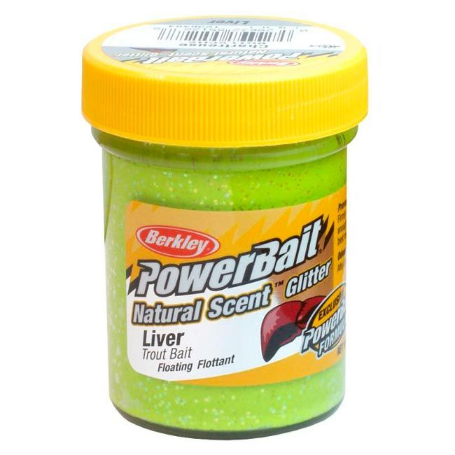 Паста форелевая Berkley Powerbait Natural Scent Glitter Trout Bait (50 г) Liver Chartreuse