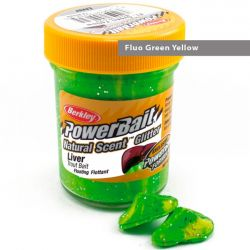 Паста форелевая Berkley Powerbait Natural Scent Glitter Trout Bait (50 г) Liver Fluo Green Yellow